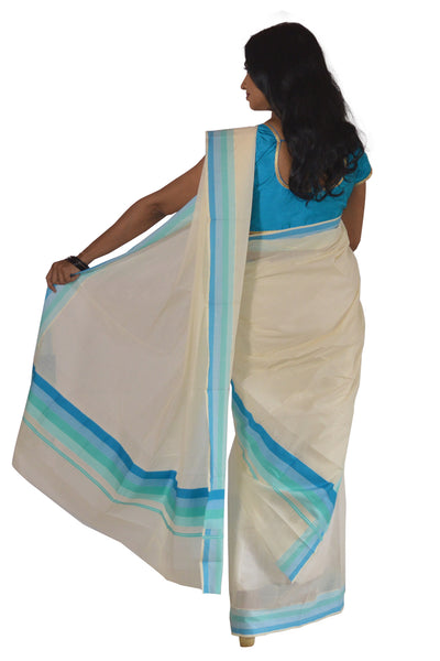 Mundum Neriyathum Single (Set Mundu) with Plain Multi Colour Border