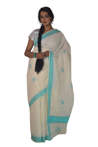 Kerala Saree with Turquoise Peacock Feather and Temple Border Block Print