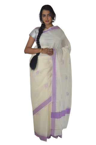 Kerala Saree with Violet Peacock Feather and Temple Border Block Print