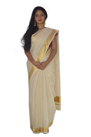 Southloom™ Handloom Tissue Kasavu Saree with Paa Neythu Border