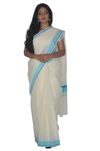 Kerala Saree with Sky Blue and Turquoise Lines Border Design