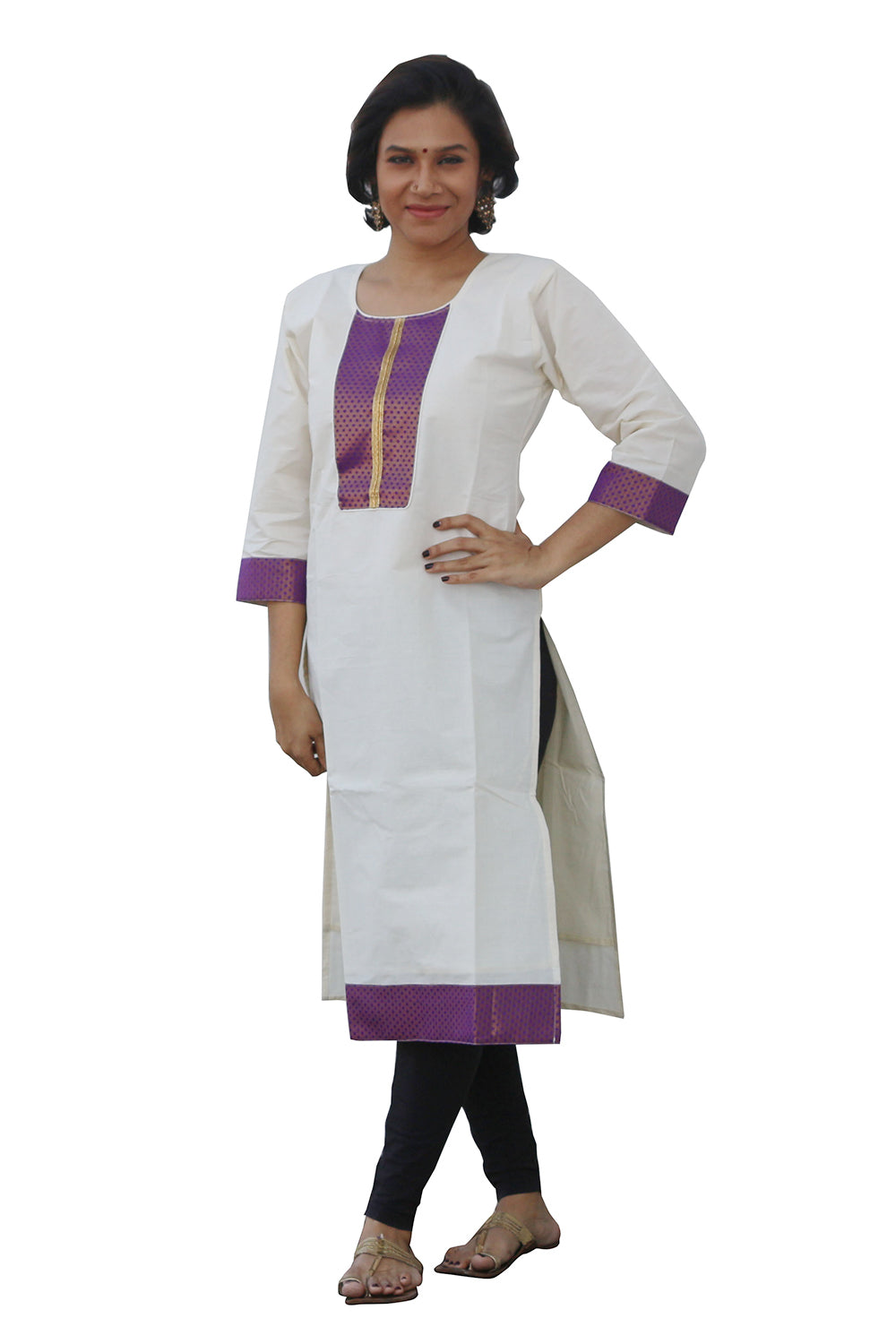 Southloom Kerala Women's Salwar / Churidar Top with Violet Design
