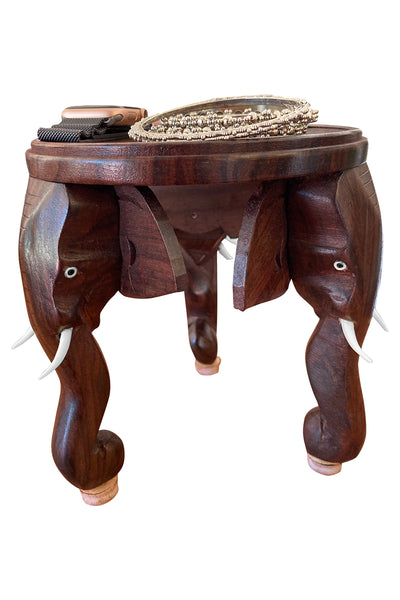 Southloom Handmade Elephant Head Flower Pot Stand Handicraft 6 Inches (Carved from Rose Wood)