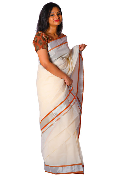 Kerala Silver Kasavu and Orange Colour Border Saree