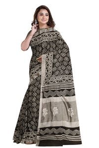 Southloom Linen Cotton Black and White Designer Saree