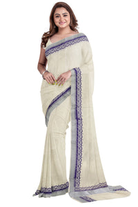 Kerala Silver Kasavu Saree with Purple Block Print