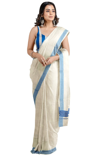 Kerala Cotton Siver Kasavu and Blue Colour Border Saree