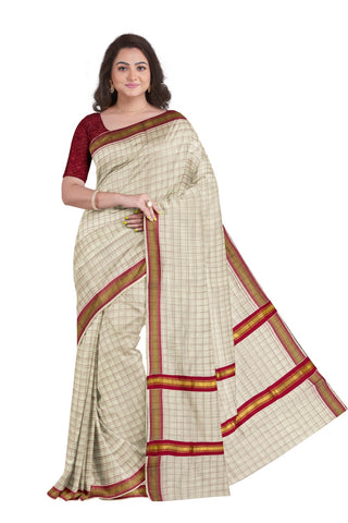 Kerala Kasavu Woven Check Saree with Dark Pink Border
