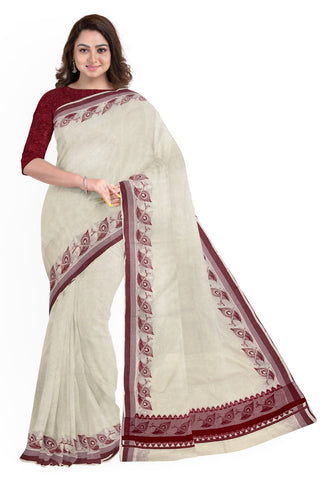 Pure Cotton Kerala Saree with Crimson Red Peacock Feather Block Print