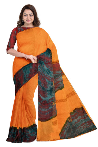Southloom Designer Cotton Orange Saree with Crochet Woven Designs