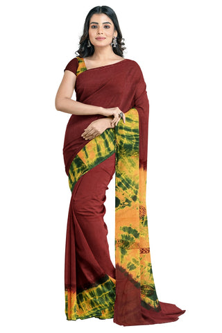Southloom Designer Cotton Maroon Saree with Crochet Woven Designs