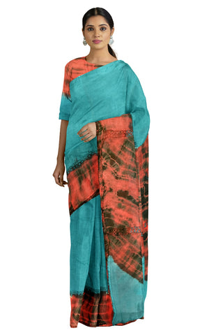 Southloom Designer Cotton Light Green Saree with Crochet Woven Designs