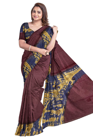 Southloom Designer Cotton Dark Brown Saree with Crochet Woven Designs