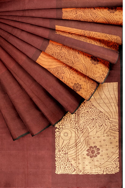 Southloom™ Premium Handloom South Cotton Dark Red Saree With Peacock Design