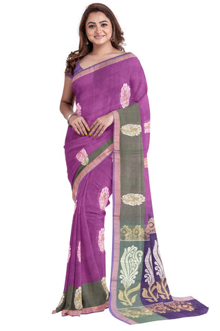 Southloom™ Premium Handloom South Cotton Magenta Saree With Floral Design