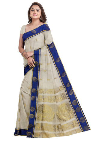 Southloom Kerala Kasavu Saree with Kasavu Woven Work and Blue Borders