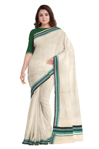 Kerala Saree with Green Lines Border Design