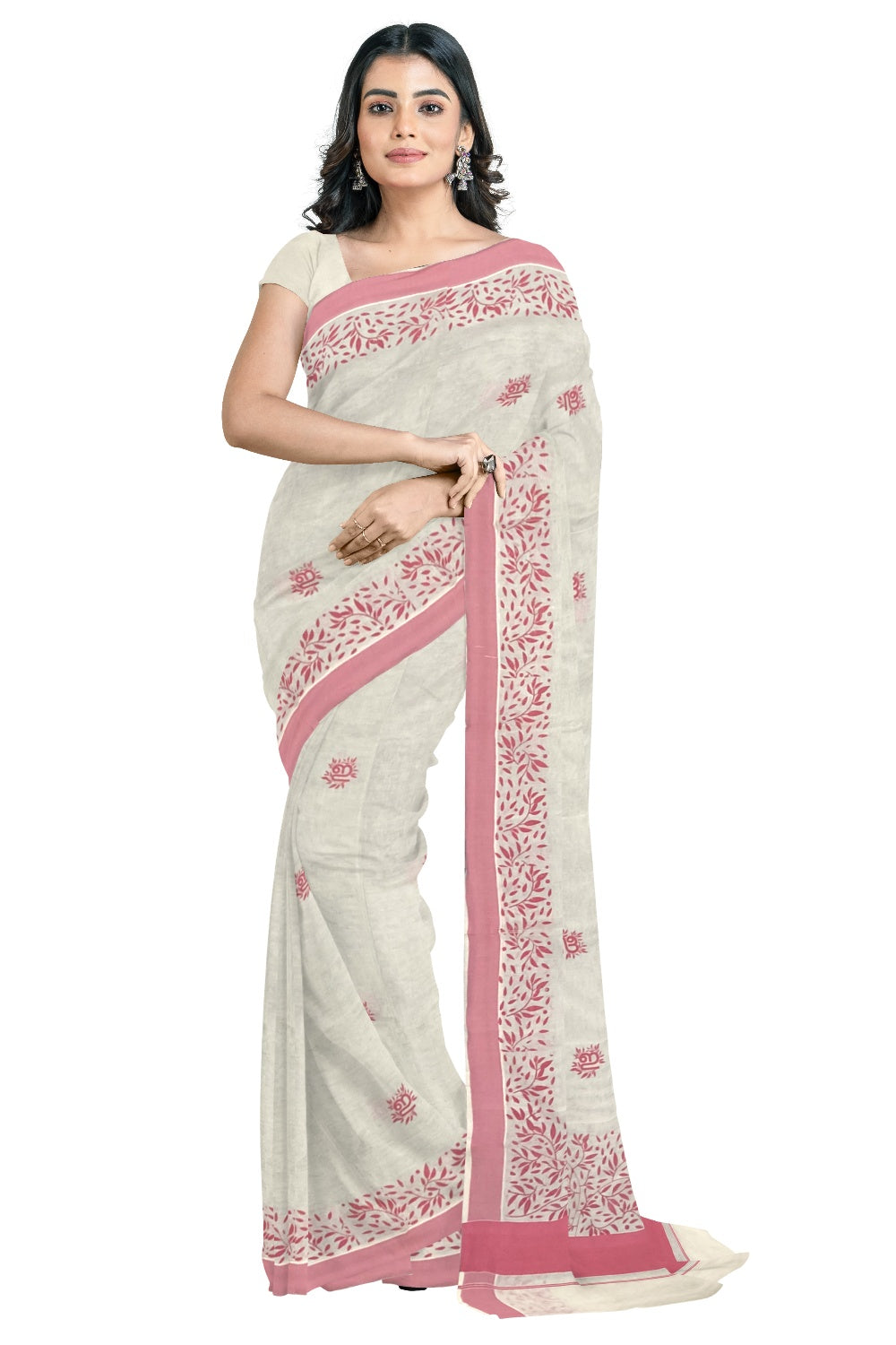 Southloom Pink Border Kerala Saree with Malayalam Themed Prints (by Govt of Kerala)