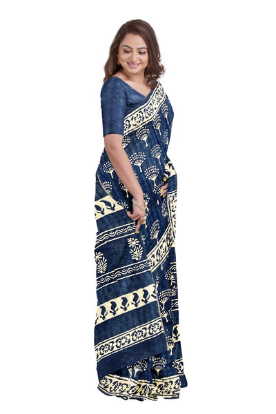 Southloom Malmal Cotton Dark Blue and White Designer Saree