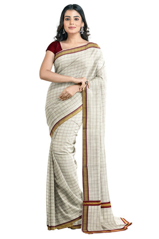 Kerala Kasavu Woven Check Saree with Maroon Border