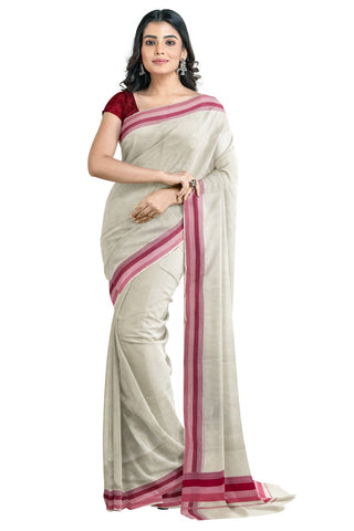 Kerala Saree with Maroon and Pink Lines Border Design