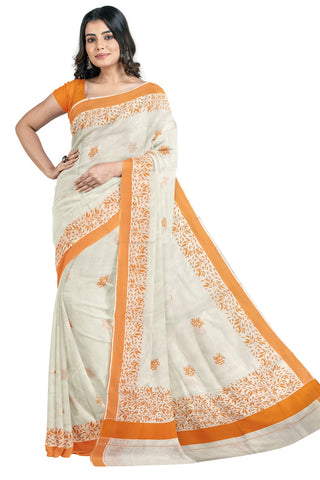 Southloom Orange Border Kerala Saree with Malayalam Themed Prints (by Govt of Kerala)