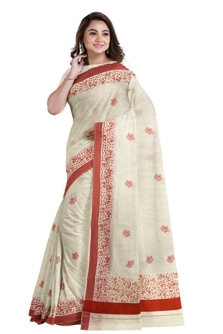 Southloom Red Border Kerala Saree with Malayalam Themed Prints (by Govt of Kerala)