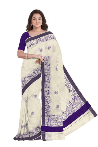 Southloom Violet Border Kerala Saree with Malayalam Themed Prints (by Govt of Kerala)