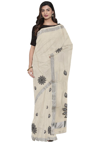 Kerala Silver Kasavu Saree with Black Peacock Feather Embroidery Work