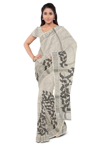 Silver Tissue Saree with Black Mural Print