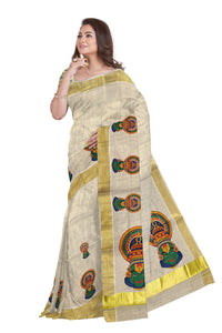 Kerala Tissue Kasavu Saree With Mural Kathakali Face Design