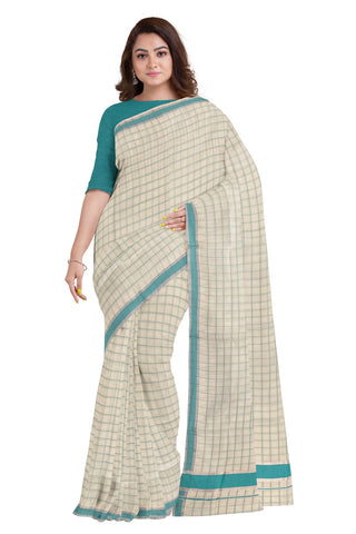 Kerala Silver Kasavu Woven Check Saree with Turquoise Border
