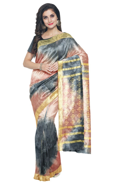 Southloom Tussar Grey and Pink Designer Saree