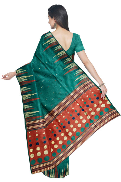 Southloom Tussar Thread Work Green Designer Saree with Red Pallu