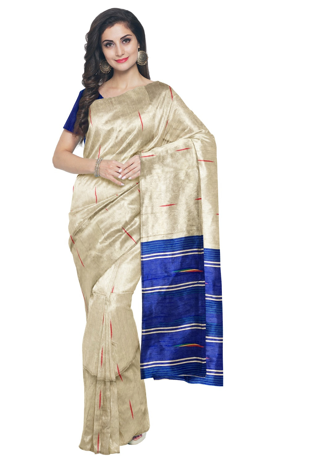 Southloom Tussar Thread Work Designer Saree