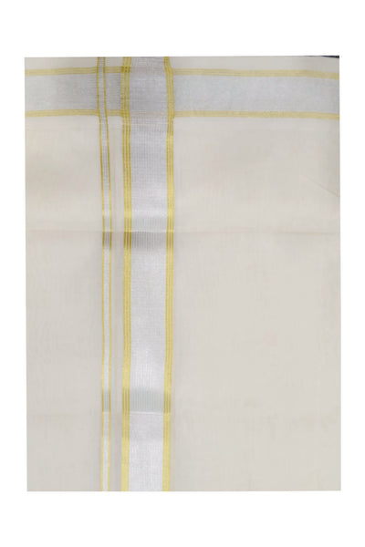 Southloom Handloom Wedding Dhoti with Silver and Golden Kasavu Line Border
