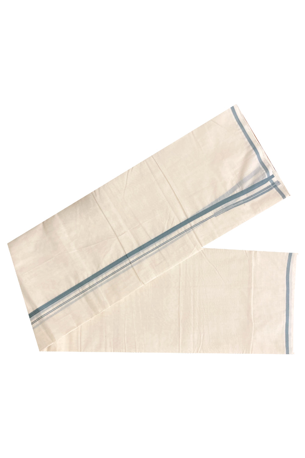 Off White Cotton Mundu with Grey Puliyilakkara Border (South Indian Dhoti)