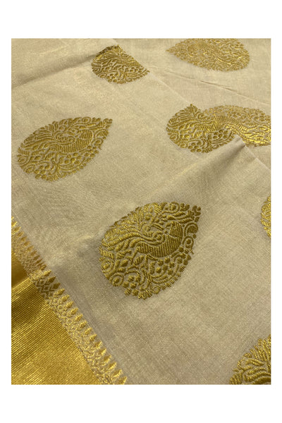 Southloom™ Unakkupaavu Handloom Mundum Neriyathum (Set Mundu) with Kasavu and Multi Colour Border (Weaver: Indraja)