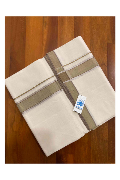 Pure White Cotton Double Mundu with Kasavu and Blue Border (South Indian Dhoti)