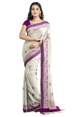Southloom Purple Border Kerala Saree with Malayalam Themed Prints (by Govt of Kerala)