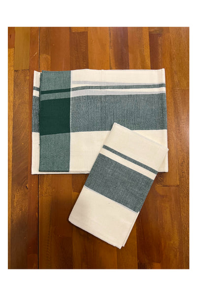 Pure White Cotton Double Mundu with Light Green Border (South Indian Dhoti)