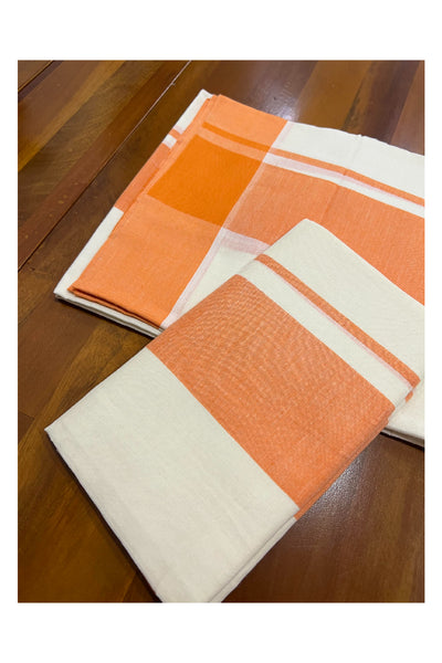 Pure White Cotton Double Mundu with Kasavu and Black Border (South Indian Dhoti)