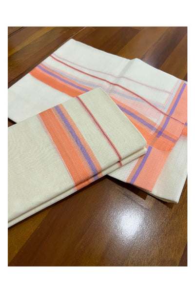 Pure White Cotton Double Mundu with Brown Border (South Indian Dhoti)