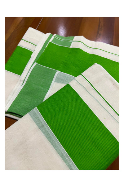 Pure White Cotton Double Mundu with Magenta Border (South Indian Dhoti)
