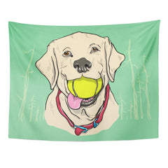 Yellow Labrador Print Tapestry
