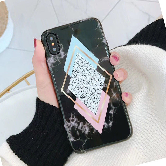 Candy Color Marble Case For iPhone