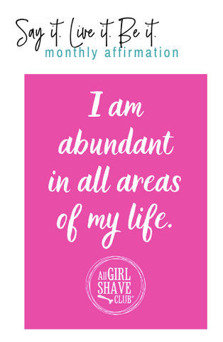 I am abundant in all areas of my life affirmation card