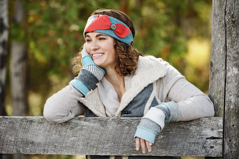 Women's Wool Headband in Bright and Women's Fingerless Gloves in Denim