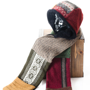 Upcycled Wool Women's Hoodie Scarf for Winter