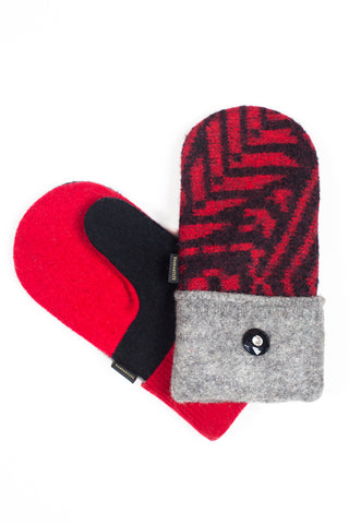 women's red black and gray sweater mittens for sale
